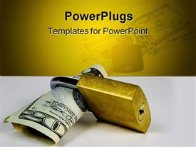 PowerPoint template displaying twenty dollar bill in gold colored padlock, protect money