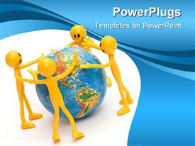 PowerPoint template displaying save the planet conceptual depiction. Environment concept in the background.