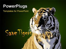 PowerPoint template displaying majestic wild tiger king of animal depiction in the background.
