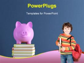 PowerPoint template displaying piggy bank over colorful books against blue wall - rendering