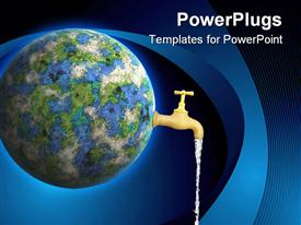 PowerPoint template displaying abstract earth globe with faucet running water, ecology, conservation