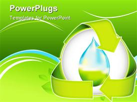 PowerPoint template displaying conceptual depiction of water conservation nested in a recycling logo in the background.