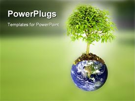 PowerPoint template displaying save the planet depiction composition with the earth and a tree growing from it in the background.