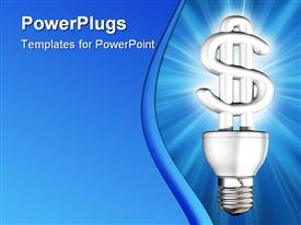PowerPoint template displaying lit dollar sign light bulb blue background