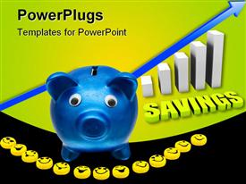 PowerPoint template displaying blue Colored piggy bank with Smilies and a text which spells
