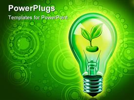 PowerPoint template displaying close up of bulb with green sprouting seed in green background