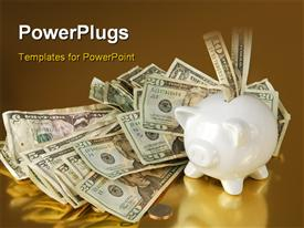 PowerPoint template displaying piggy bank on gold overflowing with cash