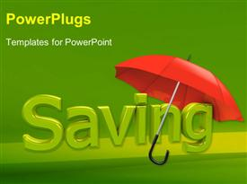 PowerPoint template displaying depiction Banking conceptual saving umbrella