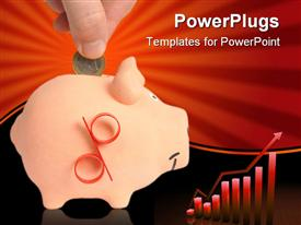 PowerPoint template displaying hand inserting one euro coin in piggy bank and red graphic chart with bars and rising arrow