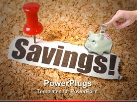 PowerPoint template displaying a piggy bank with the word savings underneath