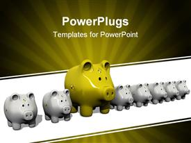 PowerPoint template displaying distinct yellow piggy bank between several Grey colored ones