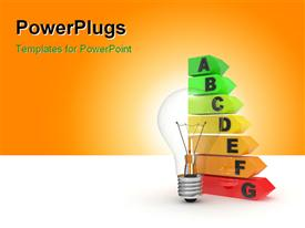 PowerPoint template displaying electric lamp and efficiency scale the concept of economy of power resources