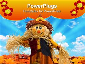 PowerPoint template displaying scarecrow sitting on fall leaves on a sky background scarecrow