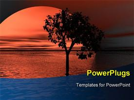 PowerPoint template displaying scenery of sunset over sea surface with flourishing tree