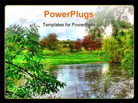 High dynamic range photo of a very colorful picturesque view over a river powerpoint design layout