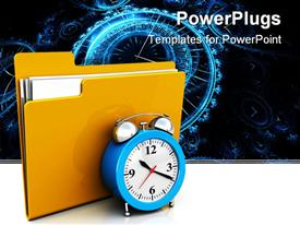 PowerPoint template displaying folder icon with alarm clock in the background.