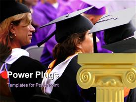 PowerPoint template displaying scholars look on as students graduate