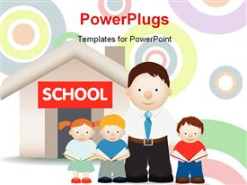 PowerPoint template displaying a family with a school in the background