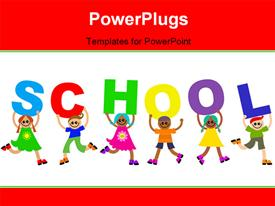 Group of happy and diverse children holding up letters that spell out the word SCHOOL powerpoint design layout