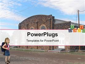 PowerPoint template displaying old school building Winnsboro Texas in the background.