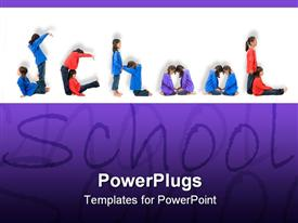 PowerPoint template displaying lots of school kids with a text that spell out the word