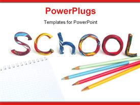 PowerPoint template displaying pencils and crayons on notepad with colorful text SCHOOL