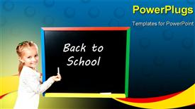 PowerPoint template displaying a young smiling girl writing on a chalk board