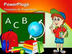 PowerPoint template displaying animated boy carrying backpack and book next to class supplies and chalkboard