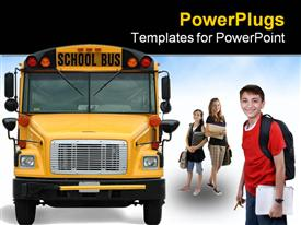 Front view of school bus against white background powerpoint design layout