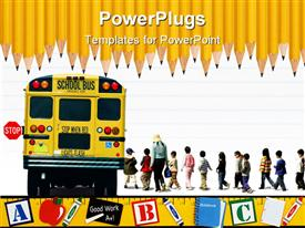 PowerPoint template displaying education school theme with yellow school bus kids and teacher, pupils, row of sharpened pencils on top and yellow ruler on bottom with letter cubes, apple, markers, chalk and chalkboard, notebook