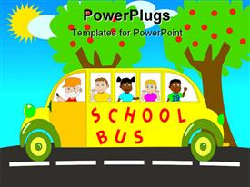 PowerPoint template displaying colorful design of yellow school bus with happy pupil kids and smiling bus driver with apple trees and sunny background