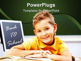 PowerPoint template displaying a small boy smiling with a book and a text that spells out
