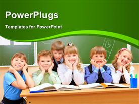 Happy school children at a classroom. Education template for powerpoint