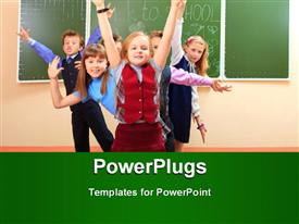 Happy schoolchildren at a classroom. Education presentation background