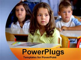 PowerPoint template displaying children learning in classroom desks elementary school education