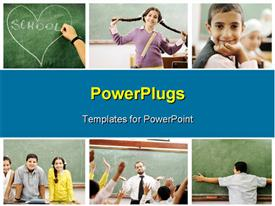 PowerPoint template displaying collage of beautiful students and teacher learning in school