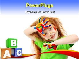 PowerPoint template displaying a kid playing with various colors with bluish background