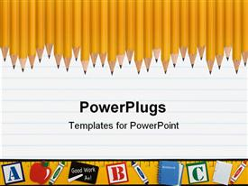 PowerPoint template displaying row of sharpened pencils and a ruler on a loose leaf background School days