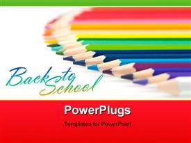 PowerPoint template displaying array of colored crayons over white background depicting learning