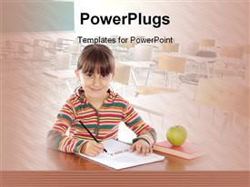 Adorable girl studying with a book powerpoint template