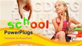 PowerPoint template displaying funny little schoolgirl