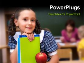 Happy schoolgirl with copybooks looking at camera presentation background