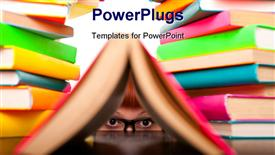PowerPoint template displaying a number of colorful books with a kid looking through one