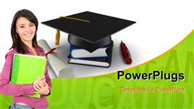 PowerPoint template displaying learning depiction with smiling student and graduation cap on book pile
