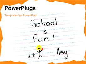 Child paper states that, school is fun powerpoint template