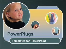 Dark green with blue and yellow gradient template showing a little girl in black at blackboard powerpoint design layout