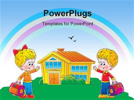 PowerPoint template displaying two children cartoon characters holding school bags and pointing to a house