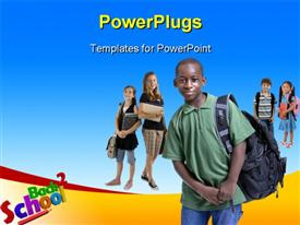 PowerPoint template displaying school Kids Diversity - Young kids are ready for school. Education family learning diversity