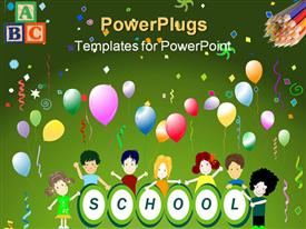 PowerPoint template displaying school theme with happy children around word school and colorful balloons and colored pencils