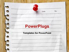 PowerPoint template displaying page pulled from spiral notebook pinned to board with red pin